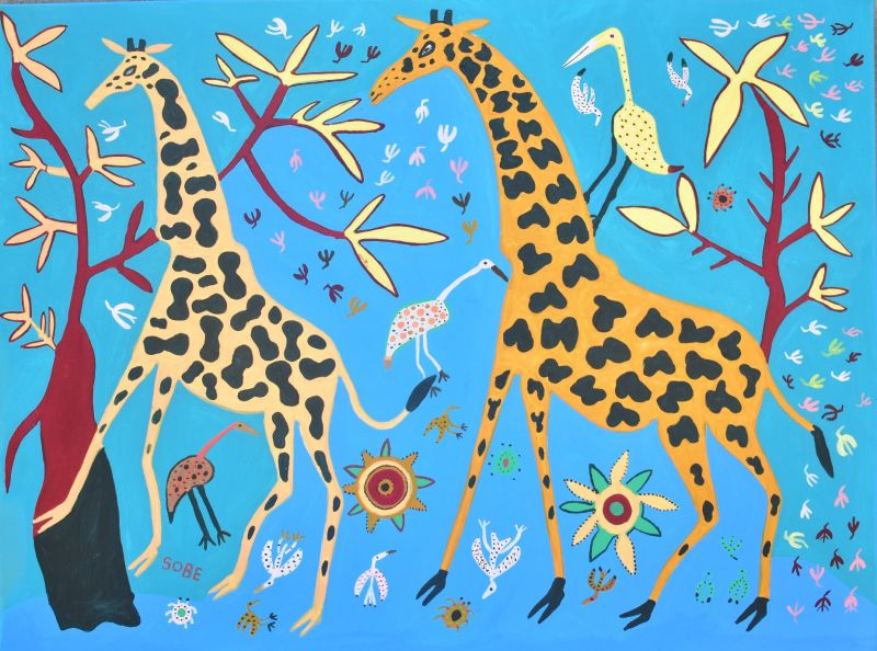 Two giraffes and
